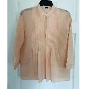 Theory Orange & White Silk Blend Striped Blouse S